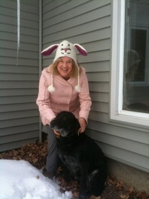 Nancy Furstinger with rescued lab mix, Maggie